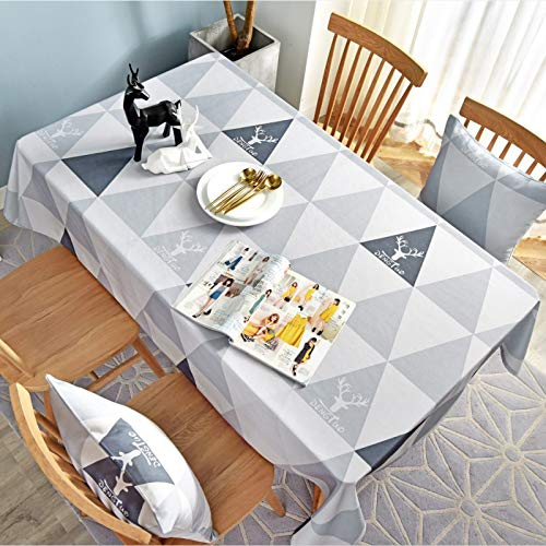 WSJIABIN Home Decoration Tablecloth Nordic Coffee Table Cloth Rectangular Christmas elk Cover Towel Tablecloth Waterproof and Oil-Proof Geometric Gray Triangle Table Cloth