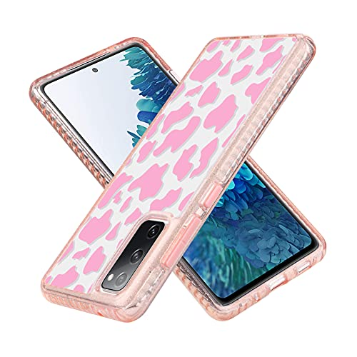 SAKUULO Compatible with Samsung Galaxy S20 FE 5G Clear Case Pink Cow Print Design Luxury Scratch Resistant Shockproof Protection Cover Soft TPU Bumpers + Hard PC Back Case for Galaxy S20 FE 5G
