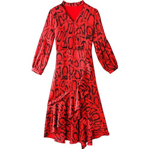 BINGQZ Cocktailjurken Vintage jurk lente rood V-hals print vetersluiting A-lijn rok