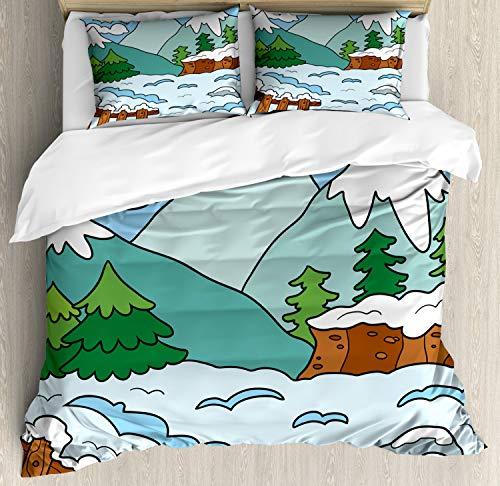 ABAKUHAUS Northwoods Dekbedovertrekset, Winterbergen, Decoratieve 3-delige Bedset met 2 Sierslopen, 200 cm x 200 cm, Veelkleurig