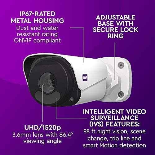 WD ReadyView 4MP Surveillance System- 1520p HD, 4TB WD Purple HDD, PoE, NVR, IP67-rated, 4 Cameras, Motion Detection, Night Vision - WDBELL0040HWT-HESN
