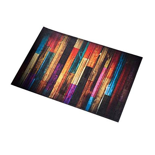 OUNONA Fußmatte Deko Küche Teppiche rutschfest waschbar Bodenmatte 40 x 60 cm (Bunte Holz)