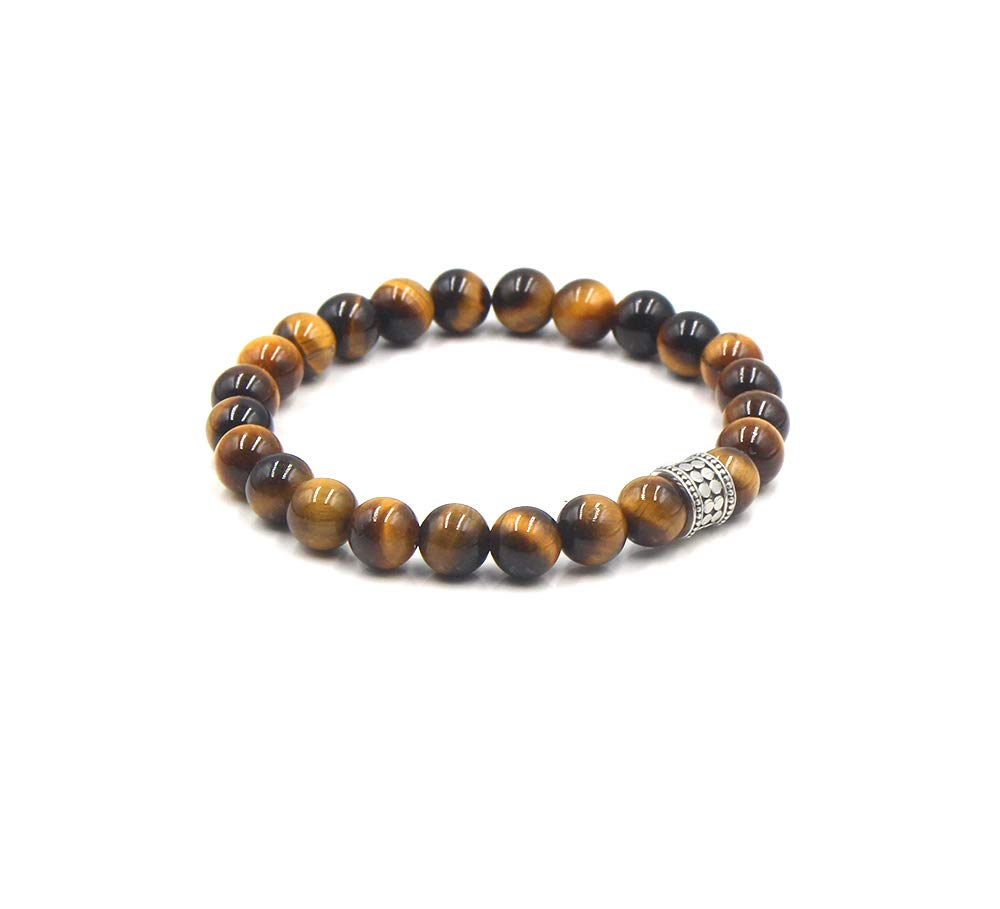 Tiger's Eye and Sterling Silver Brace Bracelet Popular shop is the lowest price challenge Quality inspection Bead