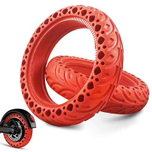 YspgArt Scooter ersättningsdäck färgade fasta vaxkaksdäck för Xiaomi M365/Pro 8,5 tum massiva däck elektrisk skoter fram/bak hjul halkfri anti-punktering däck tillbehör ... RED,2 Pack 2 Pack