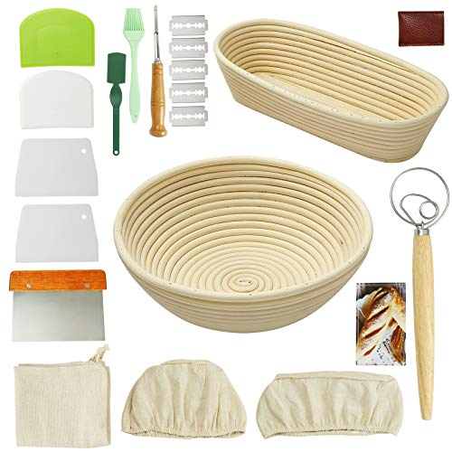 21 PCS Bread Proofing Basket Set,9-Inch Oval & 10-Inch Round Banneton Basket,Bread Making Tools Includes Linen Liner, Dough Scraper, Scoring Lame and Blades, Gift for Thanksgiving