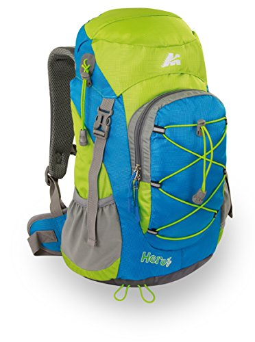Marsupio® Hero 18 L Mochila de Trekking para Niños (18 litros Acampa Recorrido Caminatas Cubierta Lluvia Silbato), Farbe:Azure Blue - Green Groesse:18 L