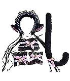 KIRALOVE Negro y Rosa - Gato Gato Sexy - Diadema - Cola - Pulseras - Collar - Disfraces de Mujeres y niños - Halloween - Carnaval - Mujer niña - sonajeros - Idea de Regalo Original Cosplay
