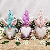 FGASAD Juego de 3 muñecos de Pascua sin cara, decoración de gnomo de conejo de Pascua, fiesta de Pascua, decoración temática de fiesta de Pascua, adornos