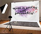 Quote 12x10 FT Vinyl Photo Backdrops,Colorful Cloud of Dust with Music is a Poetry with Personality Slogan Background for Child Baby Shower Photo Studio Prop Photobooth Photoshoot