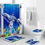 4pcs/Set Bathroom Non-Slip Blue Ocean Style Decor Shower Curtain + Pedestal Rug + Lid Toilet Cover + Bath Mat