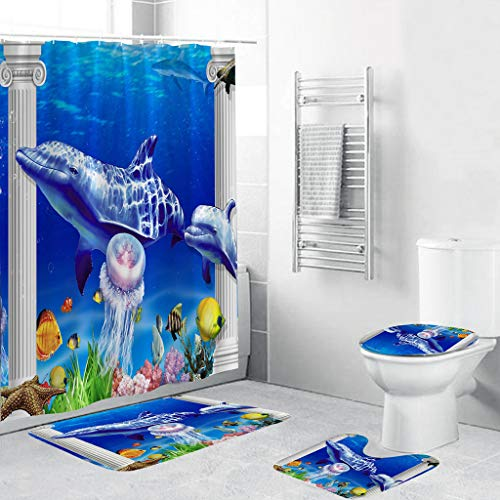 4pcs/Set Bathroom Non-Slip Blue Ocean Style Decor Shower Curtain + Pedestal Rug + Lid Toilet Cover + Bath Mat