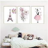 YIYAOFBH Moderne Blume Rosa Fee Paris Kunst Poster Nordic