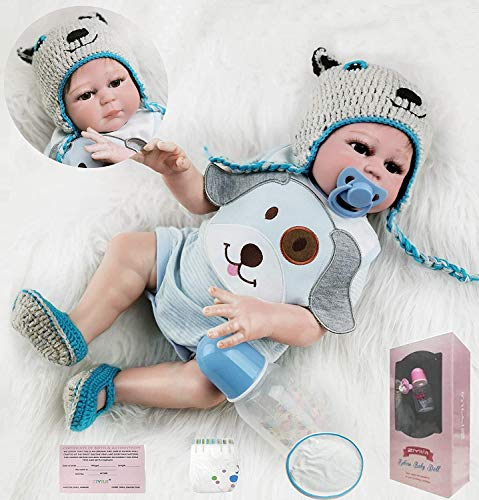 ZIYIUI Reborn 20Pouces Baby Doll Réincarné bébé Full Silicone Jouet Lifelike Garçon Fille Jouet pour Âge 3+ Boy Girl Jouet