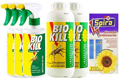 BIOKILL Set insetticida Ecologico- 3 Confezioni bio Kill antiparassitario No Gas 500 ml - 2 Confezioni Ricarica bio Kill antiparassitario No Gas da 1 lt più spira Girasole antimosche