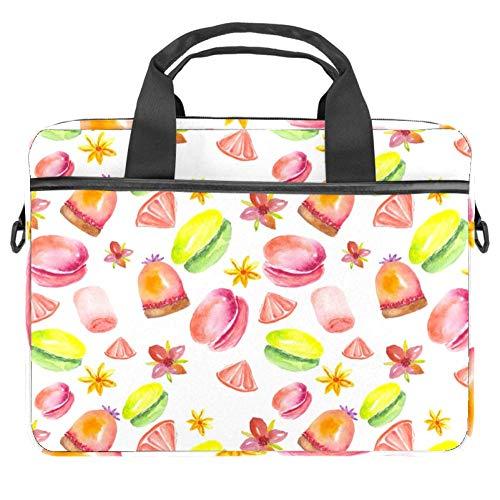 TIZORAX Laptop-Tasche Süßigkeiten Kuchen Macarons Donuts Notebook Sleeve mit Griff 38,1 - 39,1 cm Tragetasche Schultertasche Aktentasche