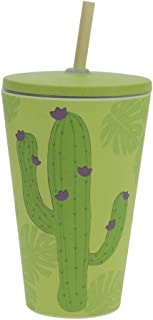ebos Smoothie-to-Go Mug Made Bamboo | Drinking Mug lid Straw | ecologically degradable, Sustainable, Environmentally Friendly | Various Designs Available (Cactus)