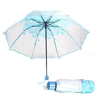 XZANTE Parapluie Transparent Parapluie Automatique a Pluie pour des Femmes et des Hommes Parapluie Automatique de Pluie Parapluie Transparent de Style Pliant Coupe-Vent Compact Bordure Blanche