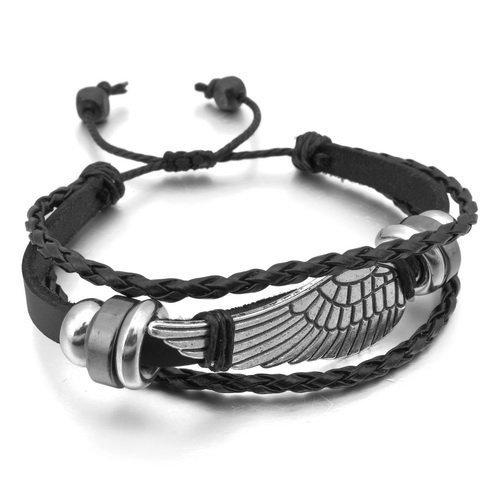 Kstyle Jewelry - Pulsera de aleación de Cuero Genuino con alas de ángel de Color Negro y Plata (con Bolsa de Regalo)