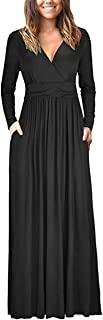 GOLD TIME Women's Long Sleeve V-Neck Casual Long Maxi Low Chest Dresses with Pockets