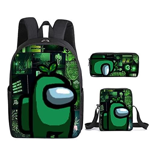 Among us - Set de mochila y accesorios escolares (3 piezas, ergonómicos, para niña)