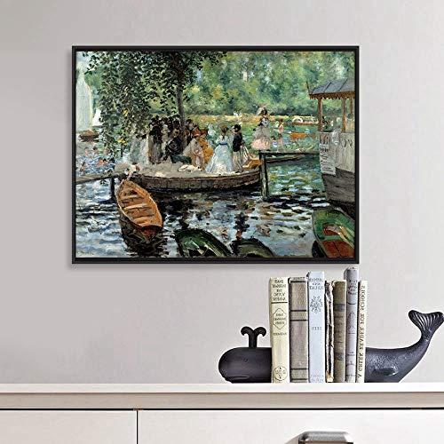 mmzki Auguste Renoir La Grenouillere Leinwand Gemälde Reproduktion Landschaft Poster Kunstdruck Bild für Hauptdekoration Wandkunst