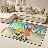 Zmacdk Alfombra de Bob Esponja para sala de estar, alfombra de entrada, fácil de limpiar, para dormitorio de los niños, 180 cm x 270 cm, Bob Esponja