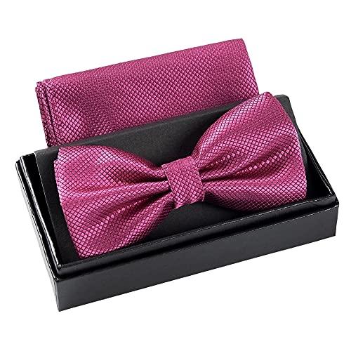 Massi Morino Pajarita con pañuelo en caja de regalo I pajarita hecha de microfibra I moño de diseño ajustable con pañuelo a juego con el color (Violeta)