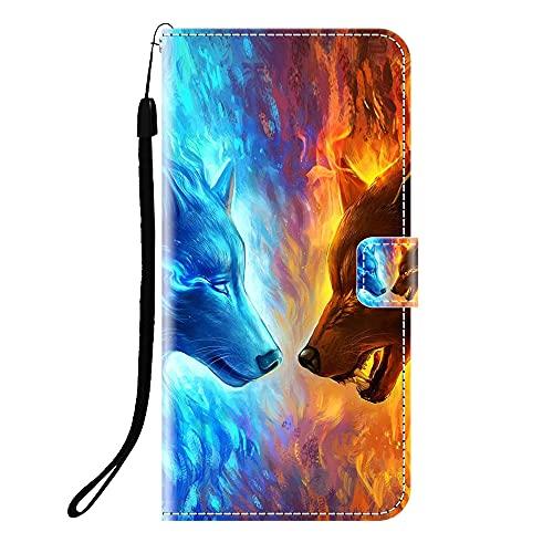Sunrive Funda Compatible con Xiaomi Redmi Note 10T, Cuero Artificial Sintético Protectiva Carcasa Resistente Cierre Magnético,en Folio,Soporte Plegable(Q Lobo 4) + 1x Lápiz óptico