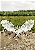 Diseño de ratán jardín juego de mesa y sillas en color blanco