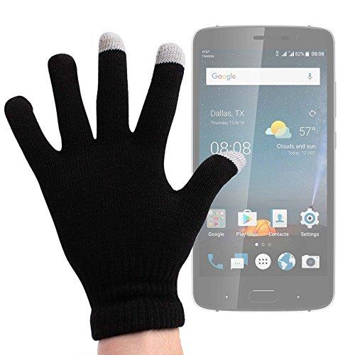 DURAGADGET Guantes Negros para Pantalla Táctil para Smartphone Fusion5 Gen II/Kata C2, V4 / Meizu M5s / Vivo V5 Lite, V5 Plus/ZTE Blade V8 Lite - ¡Ideales para El Invierno! - Talla Grande