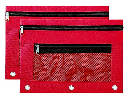 Binder Pencil Pouch Zipper with 3 Ring and Double Pocket and Mesh Window(Red,2 Pack)