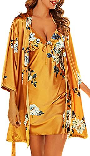 YINGKE Mujer Conjunto de pijama de 2 piezas Bata de kimono Camisón de verano Albornoz elegante floral cómodo, Amarillo L