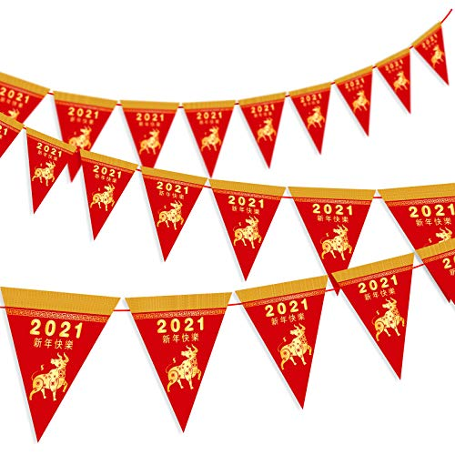 Whaline Chinese New Year Pennant Banner Pre-Assembled 2021 Year of the Ox Triangle Flag Banner Spring Festival Bunting Garland 20 Pieces Happy New Year Photo Background Supplies and Party Decor