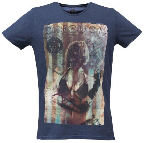 40by1, Herren T-Shirt, Freedom, Big Boobs, Street Couture, Navy, 40/1-GAS-12-013, GR M