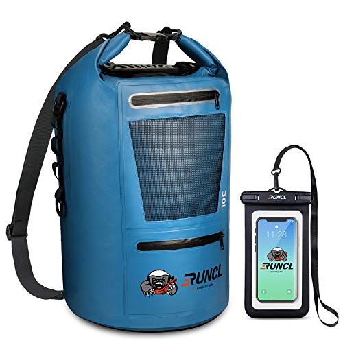 RUNCL Waterproof Dry Bag ANCOHUMA, Dry Compression Sack, Dry Backpack with Waterproof Phone Case - Reinforced Construction, MOLLE System - Kayaking Camping Fishing RV Surfing Rafting (Blue, 10L)