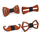 4 Pieces Wooden Bow Tie ORNOOU Handmade Customized Solid Wood Bow Tie Creative Wedding Wooden BowTie Necktie
