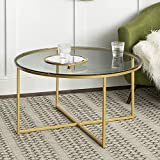 Walker Edison Cora Modern Round Faux Glass Top Coffee Table with X Base, 36 Inch, Glass and Gold
