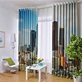 Apartment Decor Collection 100% blackout lining curtain Los Angeles Cityscape on a Sunny Day Colorful Office Buildings Streets Scene Full shading treatment kitchen insulation curtain W120 x L84 Inch