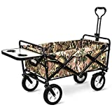 Trolley Wagon, Collapsible Outdoor Utility Wagon with Folding Table And Drink Holders,