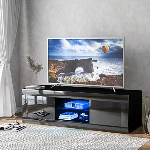 TETHYSUN LED TV-stativ skåp modern TV-skrivbord, högglansig 125 cm TV-stativ skåp enheter TV-underhållning enhet bänk för vardagsrum och sovrumsförvaring