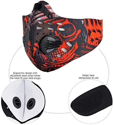 JPOJPO Outdoor Fietsmaskers met 2 pakketten Geactiveerd Koolstoffilter Winddicht Ademend Anti Stof Half Gezichtsmasker Herbruikbaar Verstelbaar Rijmasker voor Hardlopen Motorskiën
