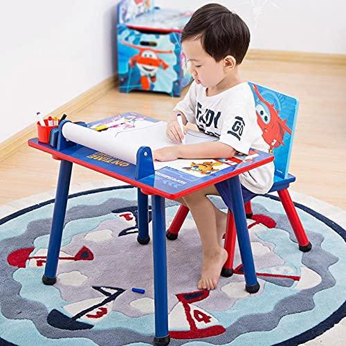 Diaod Juego de escritorios y sillas para niños, escritorios para jardín de Infantes, hogar, Juego de Dibujos Animados de Madera Maciza, Escritorio de Juguete, Pintura y Graffiti (Size : Style 2)