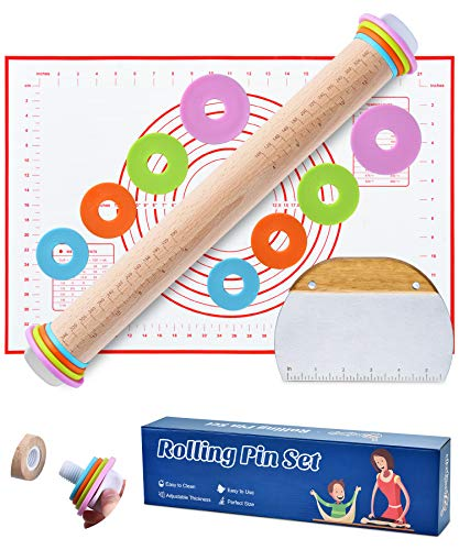 Rolling Pin, Rolling Pin Set Include Stainless Steel Dough Scraper and Silicone Pastry Mat, Rolling Pins for Baking, Rolling Pin with Thickness Rings, Wood Rolling Pin, 17-inch Adjustable Rolling Pin