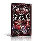 Placa de metal con sonrisa de la Ruta de servicio completo 66 Pin-up Girl con texto en inglés 'Full Service Route 66'