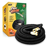 Flexi Hose 75 FT Lightweight Expandable Garden Hose | Ultimate No-Kink Flexibility - Extra Strength with 3/4 Inch Solid Brass Fittings & Double Latex Core | Rot, Crack, Leak Resistant