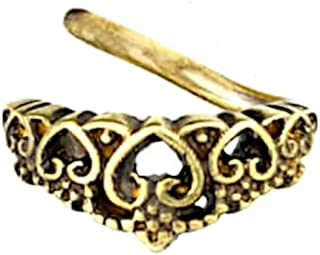 CHICNET Piercing universal para la oreja, la nariz, latón, latón envejecido, con corazón, tiara, nóstril, septum, concho, ...