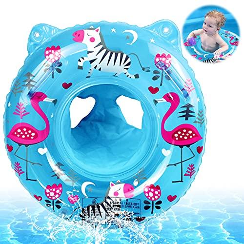 Anillo de Natación para Bebé,Anillo Flotador Bebe,Anillo de Natación Asient,Flotador Hinchable para bebé,Flotador Cuello Bebe,Inflable Flotador para Niños,Flotador Hinchable Ajustable (Azul-b)