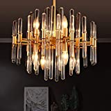 TZOE Modern Chandeliers,Crystal Chandelier,8 Light Round Pendant Light Width 19 inches Brass Metal + Clear Glass Adjustable Height UL Listed