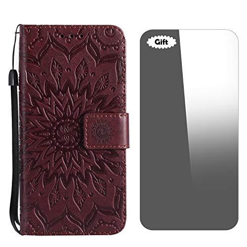 Conber Cover Galaxy S8 Plus, Custodia in Pelle, Serie Fuoco del Sole Anticaduta Cover Flip Caso Custodia Portafoglio per Samsung Galaxy S8 Plus - Marrone