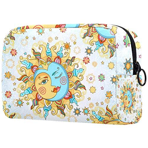 Para las mujeres bolsas de aseo bolsa de maquillaje organizador de cosméticos de viaje con cremallera Horóscopo Zodíaco Luna Sol